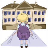 Little boy with big school bag standing towards school building Stock Image