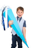 Little boy with big school cone Royalty Free Stock Photo