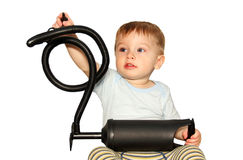 Little boy with a big toy. Royalty Free Stock Images