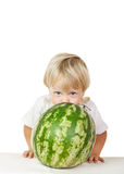 Little boy big watermelon Stock Photo