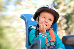 Little boy in bike child seat Stock Images