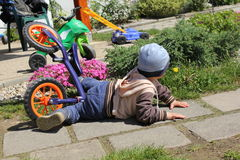 The little boy bike crash. Royalty Free Stock Photography