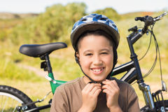 Little boy on a bike ride Stock Images