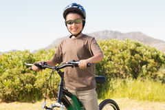 Little boy on a bike ride Royalty Free Stock Photo