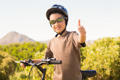 Little boy on a bike ride Royalty Free Stock Image