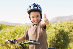 Little boy on a bike ride Stock Image