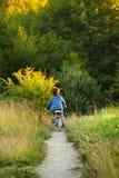 Little boy on bike Stock Images