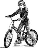 Little boy on a bike. Vector image of a little boyl riding a bike Royalty Free Stock Photo