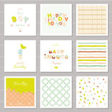 Little boy birthday and baby shower invitation cards set. One year anniversary. Sweet and balloon letters. Cute festive. Patterns collection. Vector stock illustration
