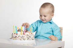 Little boy with birthday cake. Photo of little boy with birthday cake Royalty Free Stock Photography