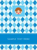Little boy birthday card. A cute little boy arrival greeting gift card Royalty Free Stock Photo