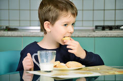Little boy bites cookies, sitting at the dinner table.  horizont Stock Photos
