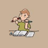 Little boy biting a pencil Stock Photo