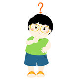 Little boy black hair wear glasses  wondering cartoon character Stock Images
