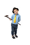 Little boy in black hat with cane Royalty Free Stock Images