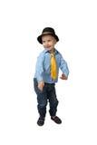 Little boy in black hat dance Stock Photos