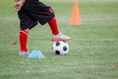 Little boy in black shorts and trainers with his foot on top of a ball. At green feild Stock Image