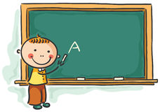 Little boy at the blackboard Royalty Free Stock Photos