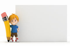 Little Boy Blank Board and Big Pencil. 3D Render of Little Boy Blank Board and Big Pencil Stock Images