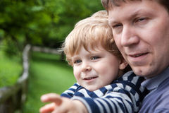 Little boy and father in zoo Royalty Free Stock Photo