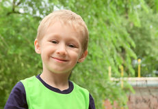 Little Boy Blond Hair Happy Smiling outdoor Stock Image