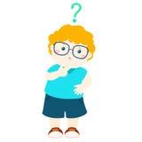 Little boy blonde hair wear glasses  wondering cartoon character Stock Image