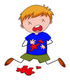 Little boy with blood stain on shirt Royalty Free Stock Photos