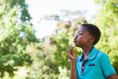 Little boy blowing bubbles in the park Royalty Free Stock Images