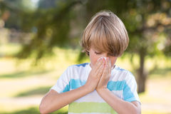 Little boy blowing his nose Royalty Free Stock Photo