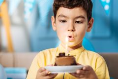 Little boy blowing out candle and making birthday wish Stock Images