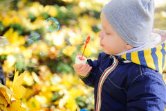 Little boy blowing soap bubbles in autumn park Stock Photography