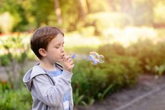 Little boy blowing soap bubbles in the park Stock Photos