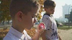 A little boy blows a soap bubble in the park. Child playing outdoors. Portrait of little boy blowing a soap bubble in the park. Child is playing outdoors stock video footage