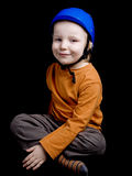 Little boy in blue helmet Stock Photo