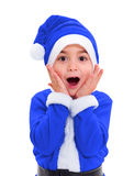 Little boy in blue Santa Claus costume Royalty Free Stock Photos
