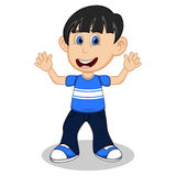 Little boy with blue shirt and dark blue trousers waving his hand cartoon Stock Image