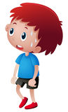 Little boy in blue shirt sweating. Illustration Royalty Free Stock Photography