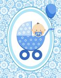 Little boy, Asian, postcard, floral background, vector. A little boy in a blue stroller. A blue ball is tied to the stroller. Color, flat card. Congratulation