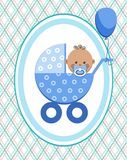 Baby, boy, Africa, postcard, blue lines, rhombuses, vector. A little boy in a blue stroller. A blue ball is tied to the stroller. Color, flat card Stock Photography