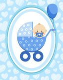 Newborn baby, boy, card, blue hearts, vector. A little boy in a blue stroller. A blue ball is tied to the stroller. Color, flat card. Congratulation. Light Royalty Free Stock Photo
