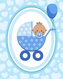Newborn baby, boy, postcard, Africa, blue hearts, vector. A little boy in a blue stroller. A blue ball is tied to the stroller. Color, flat card. Congratulation Stock Photo