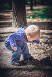 A little boy in a blue suit Stock Photography