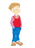 Little_boy_in_blue_trousers. Little boy in blue striped trousers and rose t-shirt Stock Illustration
