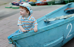 Little boy in boat Royalty Free Stock Photo