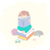 Little boy with book. Little boy, reading some books Stock Image