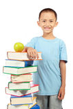 Little boy with books Stock Photo