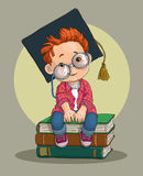 Little boy on the books. Boy in academic cap. Cartoon. Vector royalty free illustration