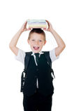 Little boy with books on head on white background Stock Images