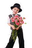 Little boy with a bouquet of carnations Royalty Free Stock Photos