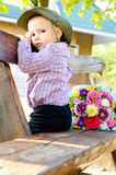 Little boy with a bouquet of flowers Stock Photography